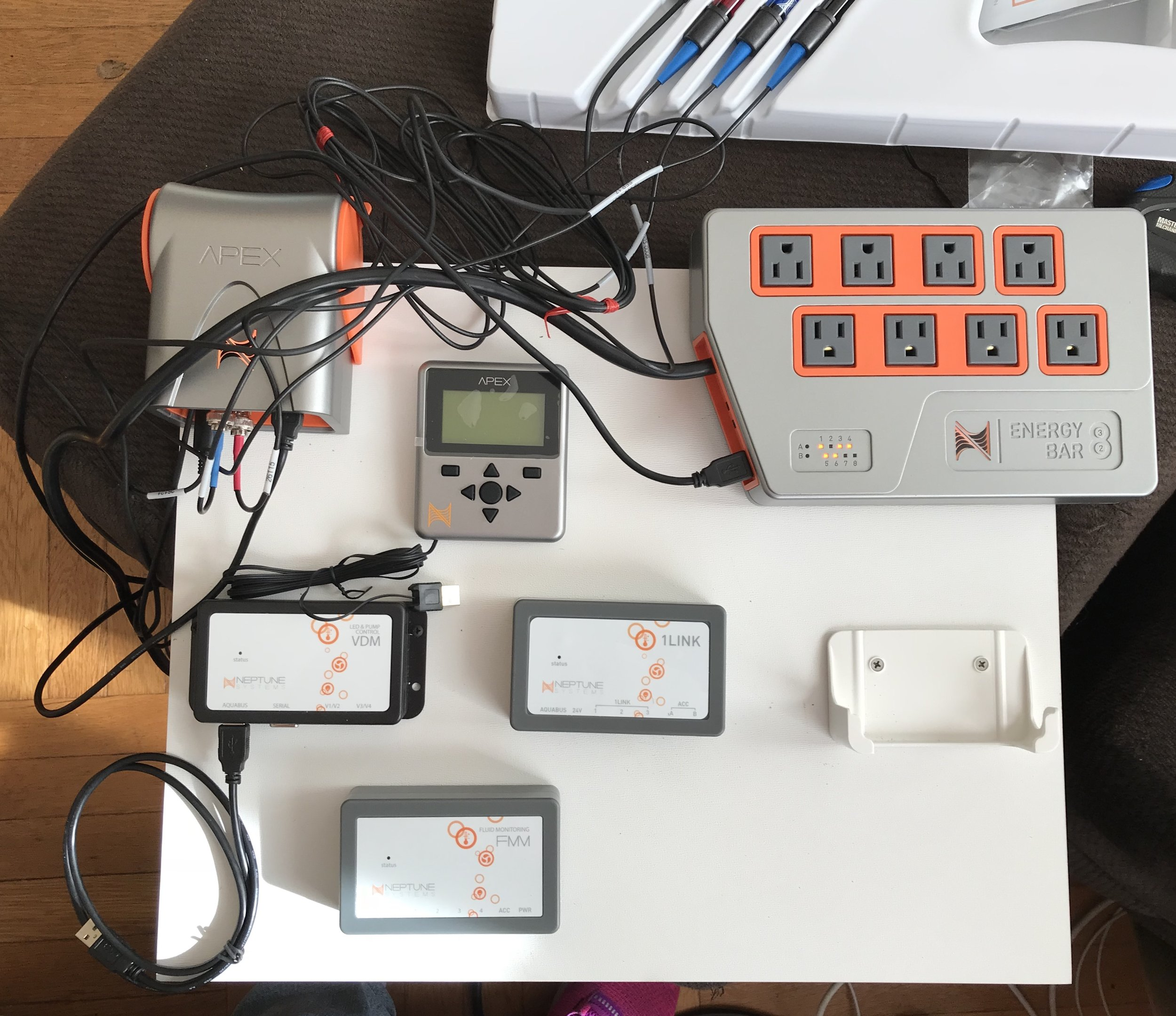 A photo from when I first was setting up the Apex controller and the components.
