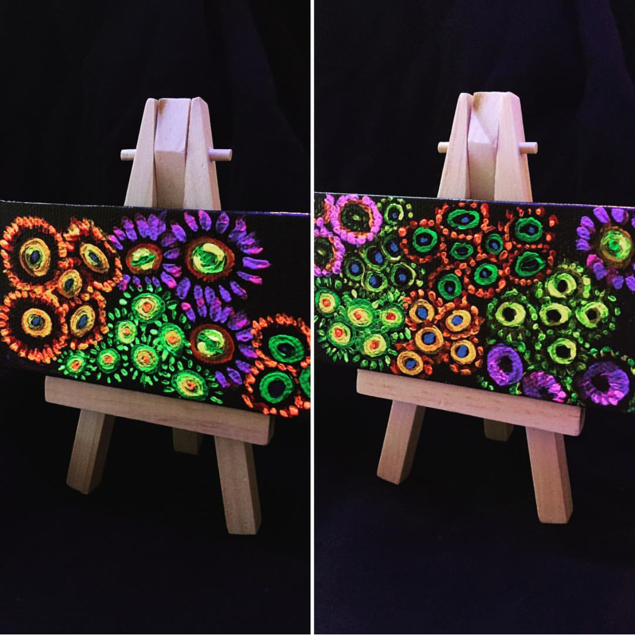 """Two of my first mini/nano paintings I did. These are 2""""x4"""" and have their own easels (sold)"""