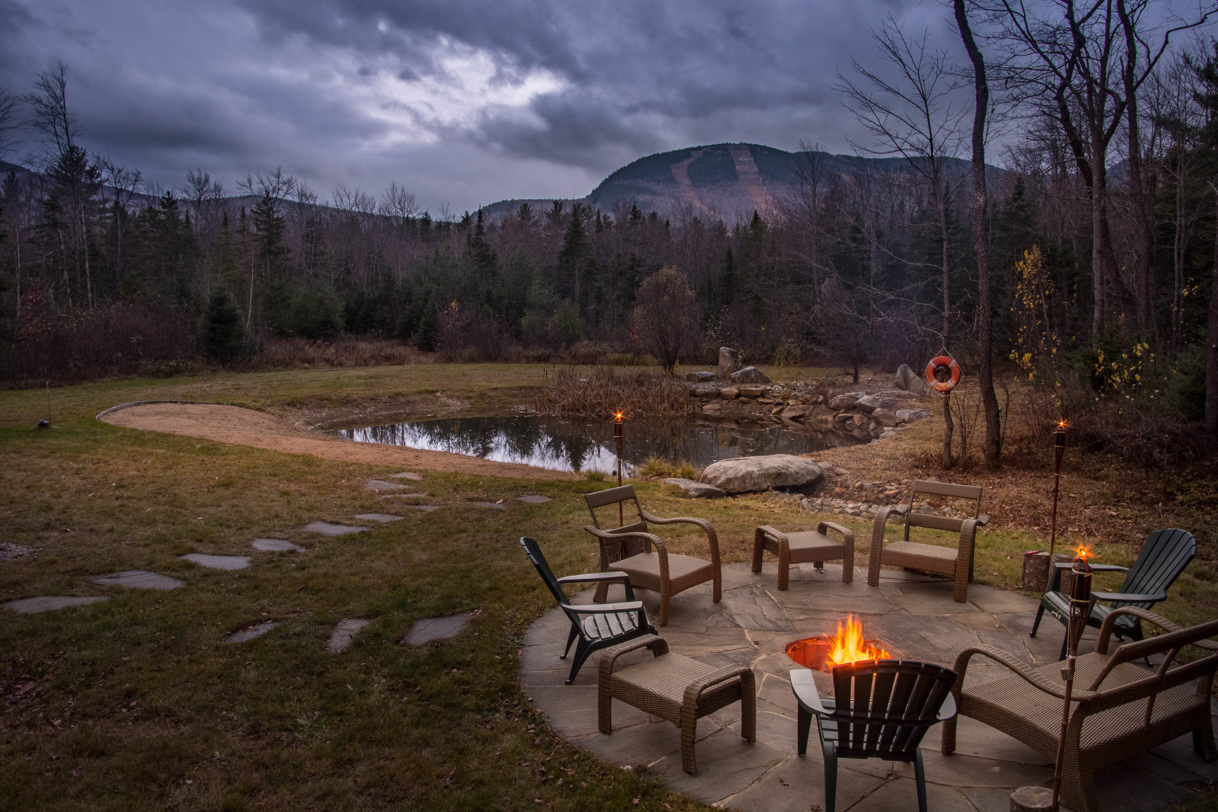 Twilight around the fire pit