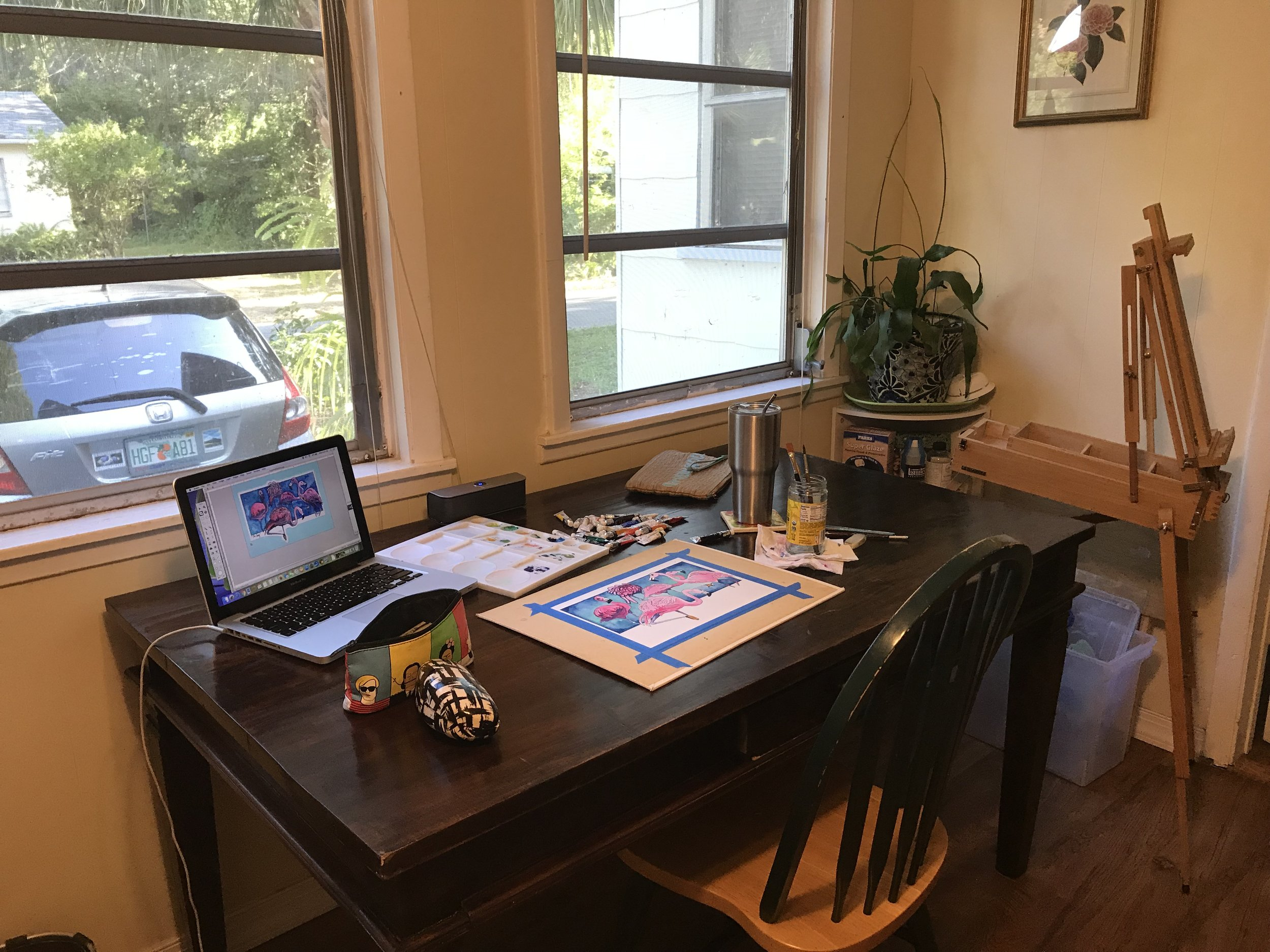 A new desk purchased for the Art by Anna Ayres Gulfport studio!