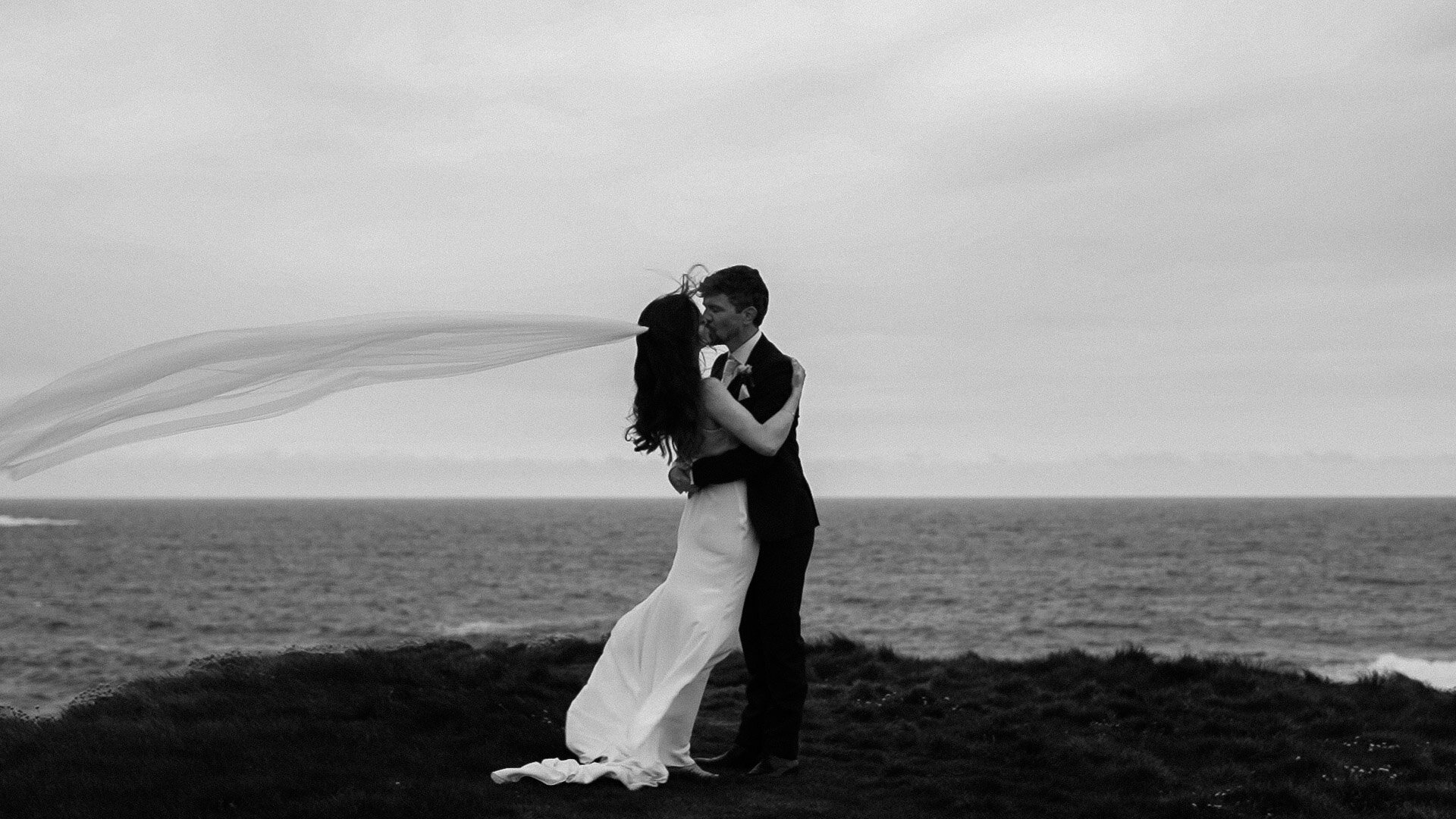 Modern couple, cliff wedding photo