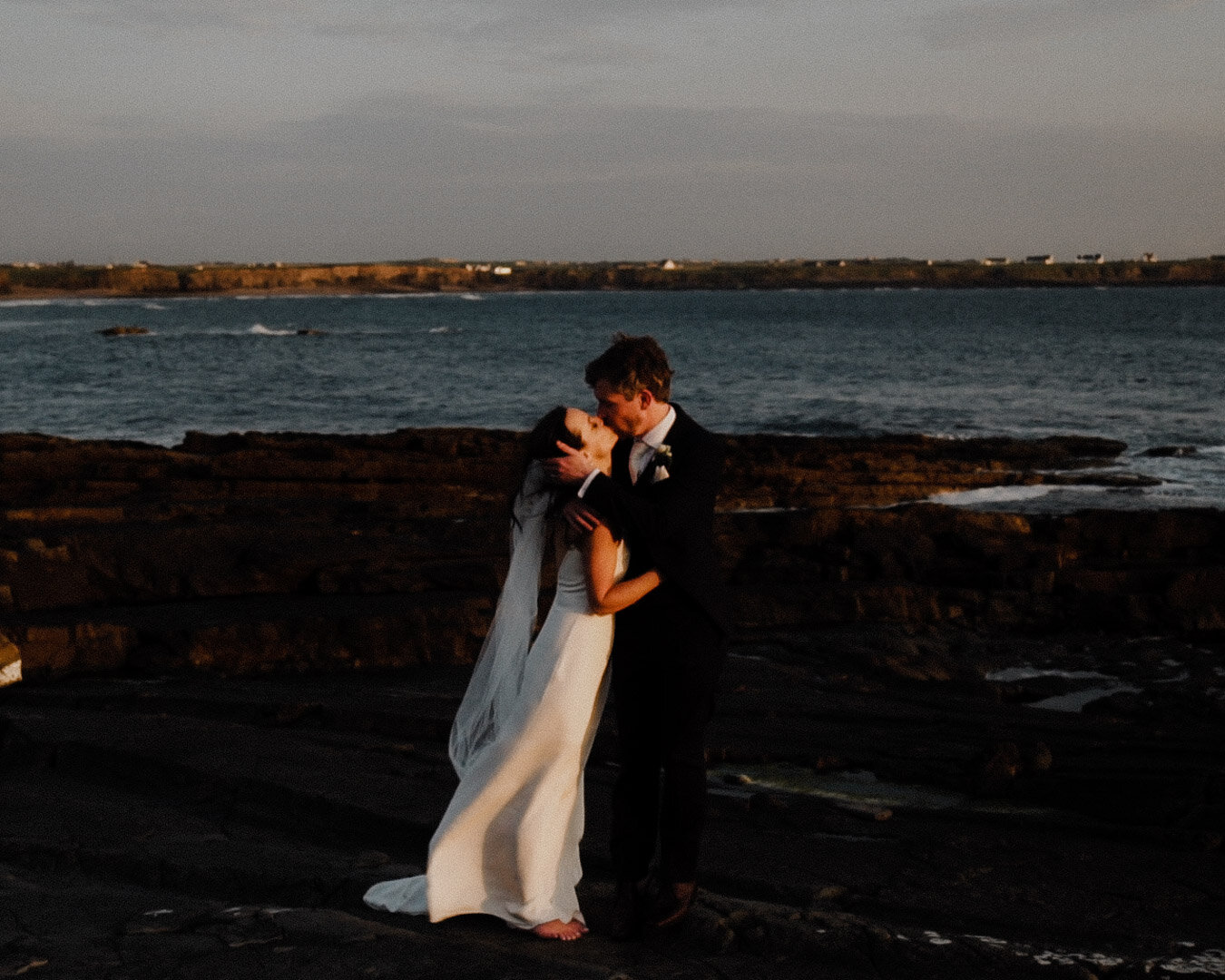 Sunset, luxury wedding couple, alexandra grecco dress