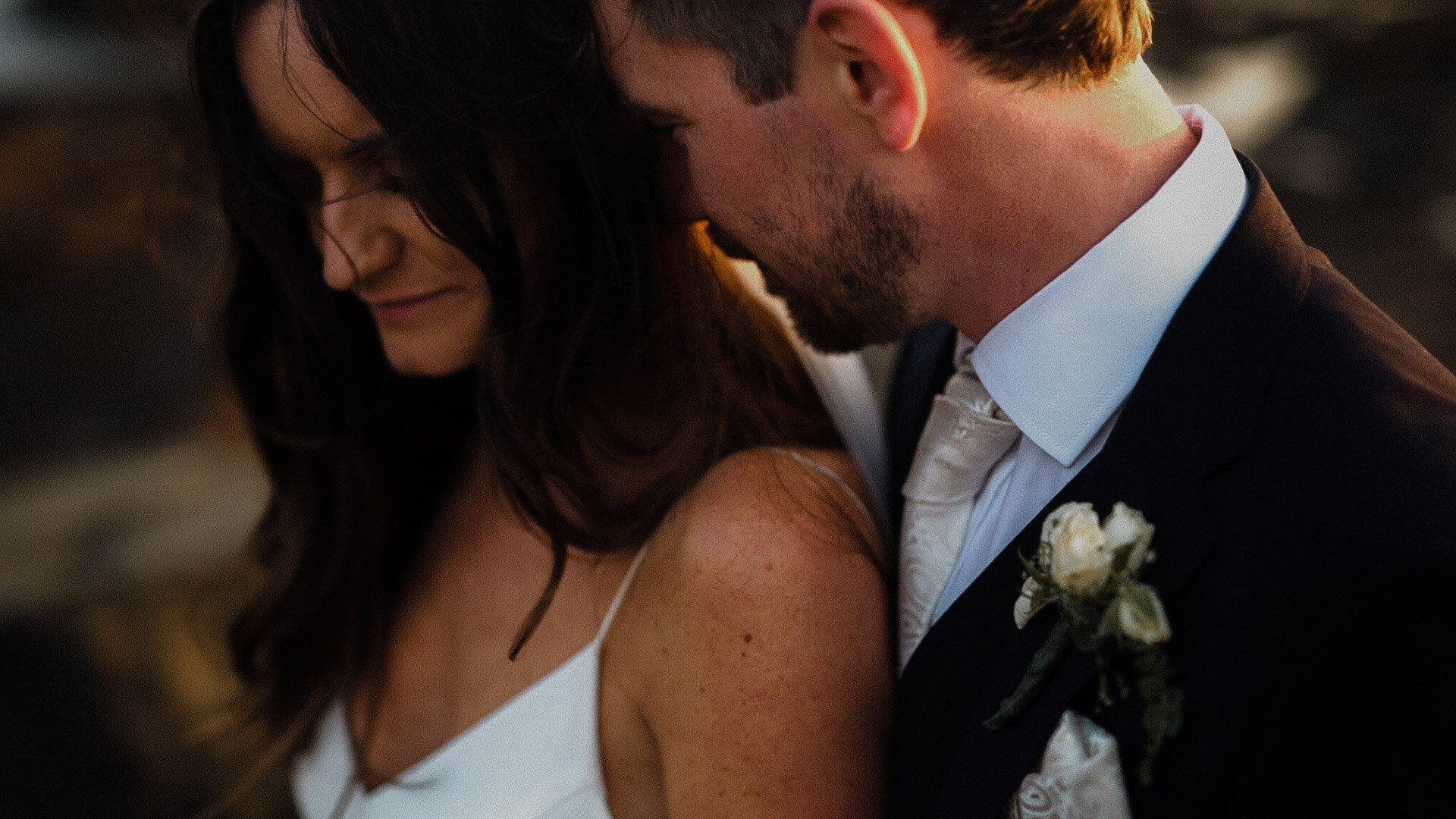 Alexandra Grecco Lewis Slip gown, Sunset wedding portrait
