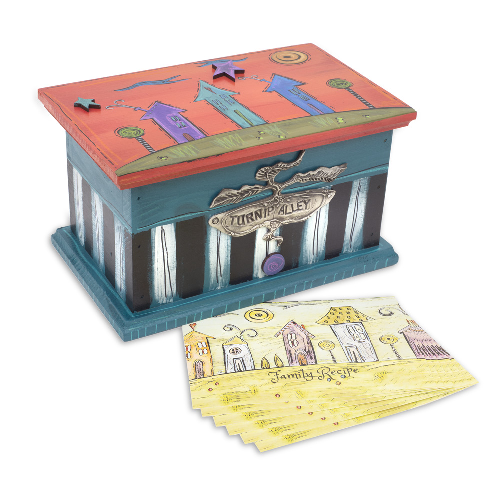 """""""Neighborhood"""" Trinket/Recipe Box BX12 (shown with our new collection of recipe cards…set of 6)"""
