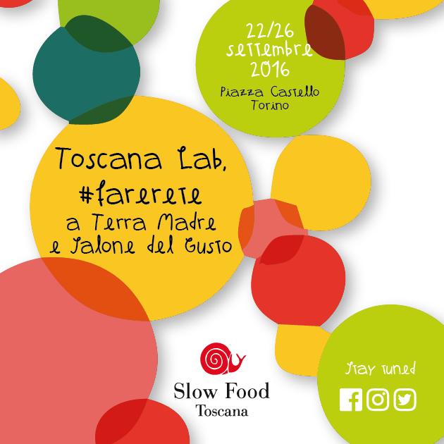 Grafica stand Slow Food Toscana per il Salone del gusto di Torino 2016