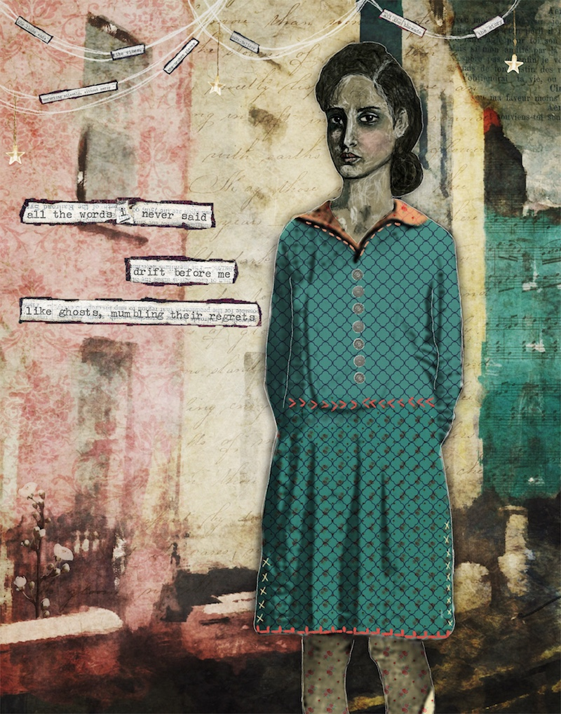 mixed media collage art by Angela Amias