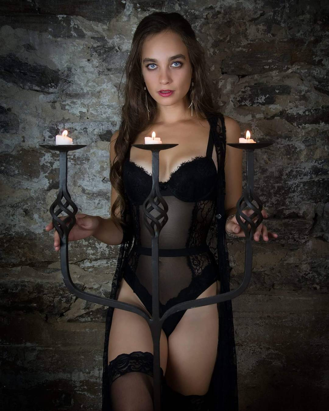 Model wearing black lacy lingerie from the curated collection from VaVaVooom in Asheville NC