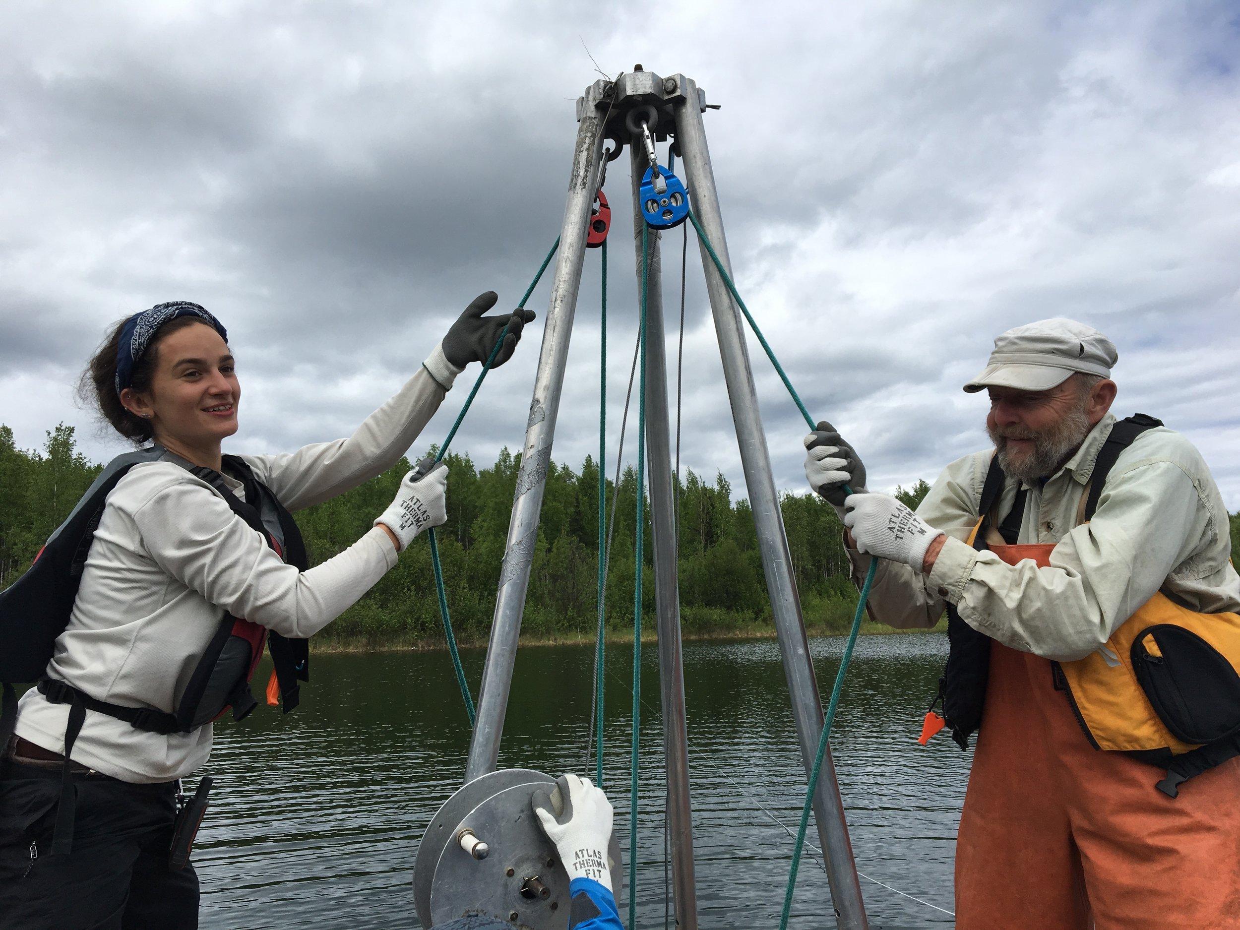 Ellie Broadman and Ed Berg percussion coring at Sunken Island Land