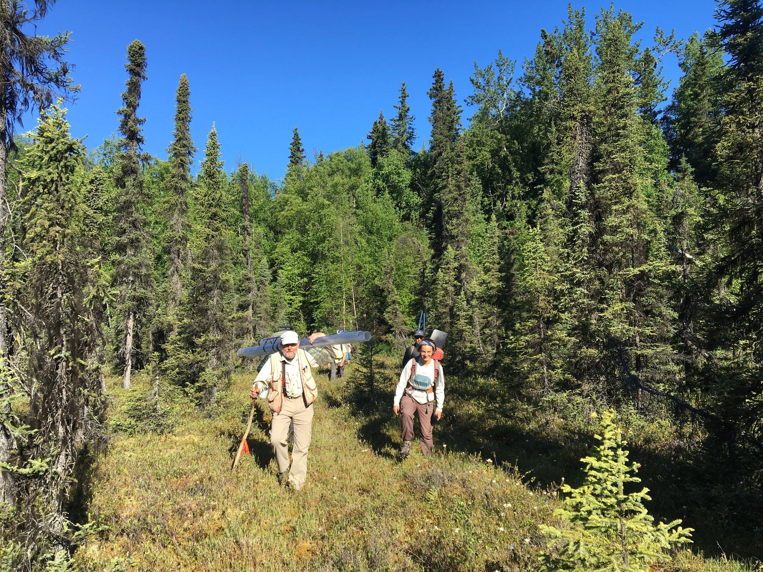 Ed Berg and Ellie Broadman bringing coring materials into Paradox Lake