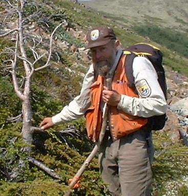 Ed Berg with released mt hemlock krummholz  Mystery Hills 7-13-2004 a cropped.jpg