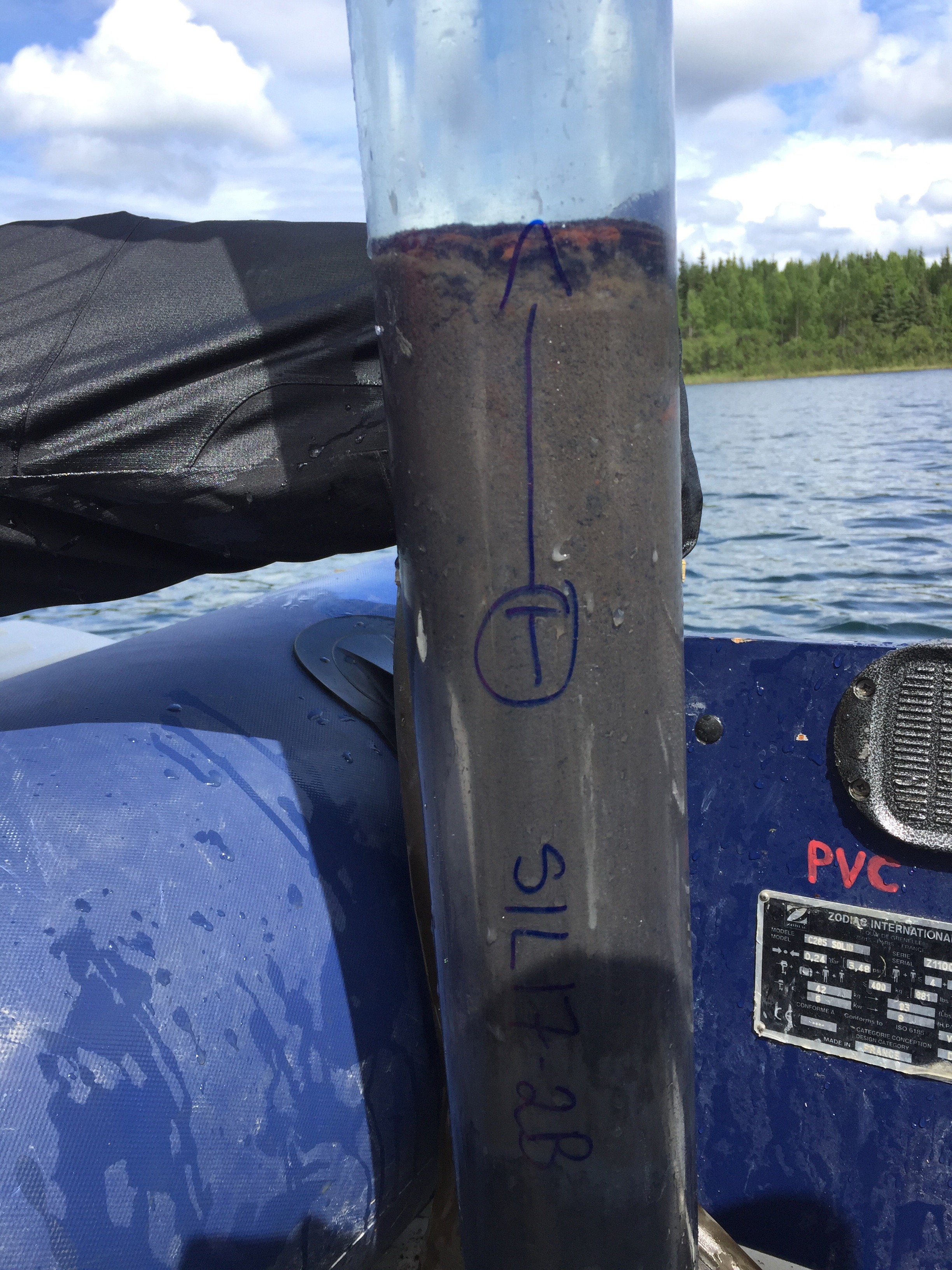 A lake sediment core just recovered from Sunken Island Lake, Kenai Peninsula lowlands