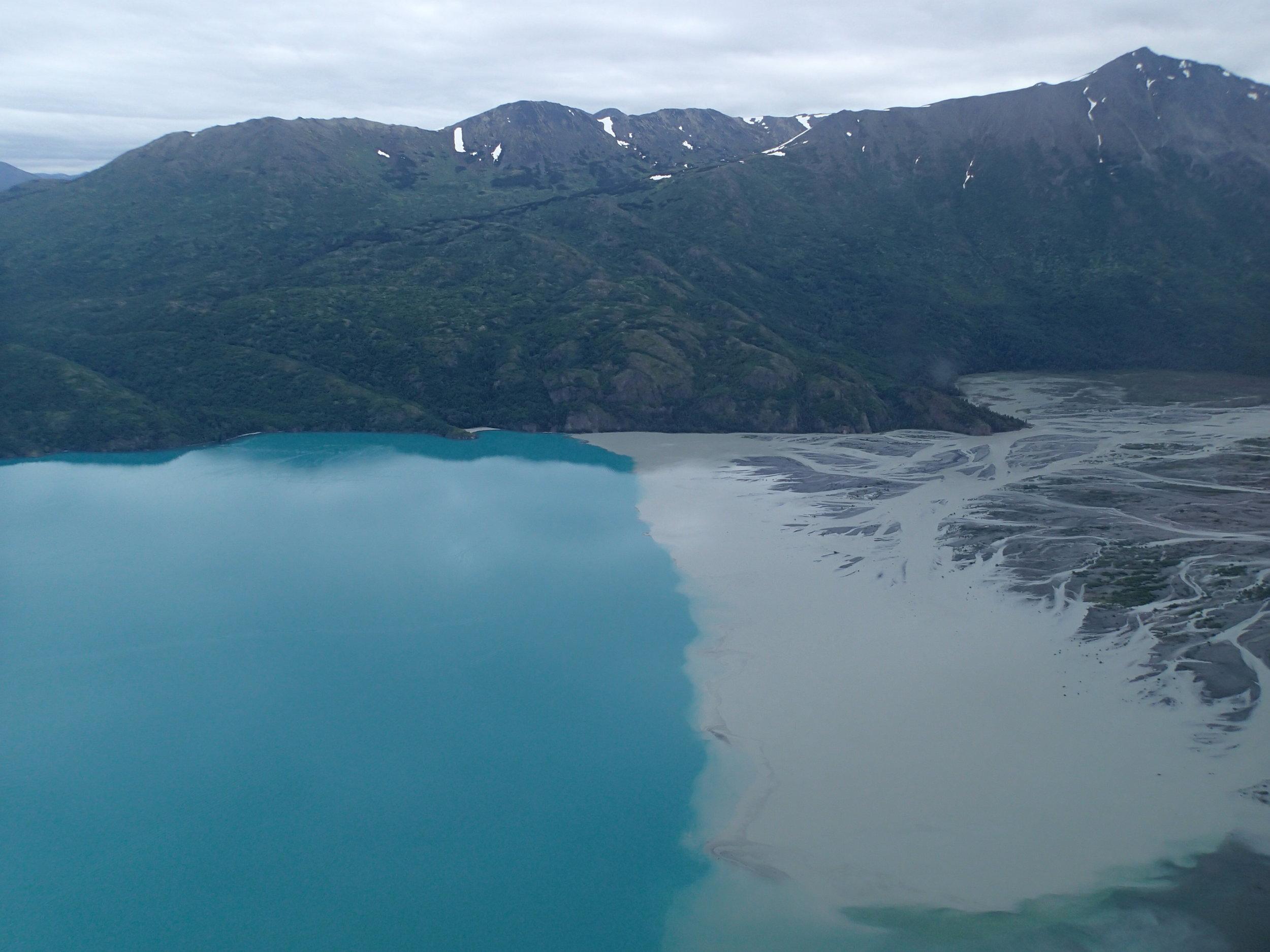 Fine sediments entering Skilak Lake from Skilak River