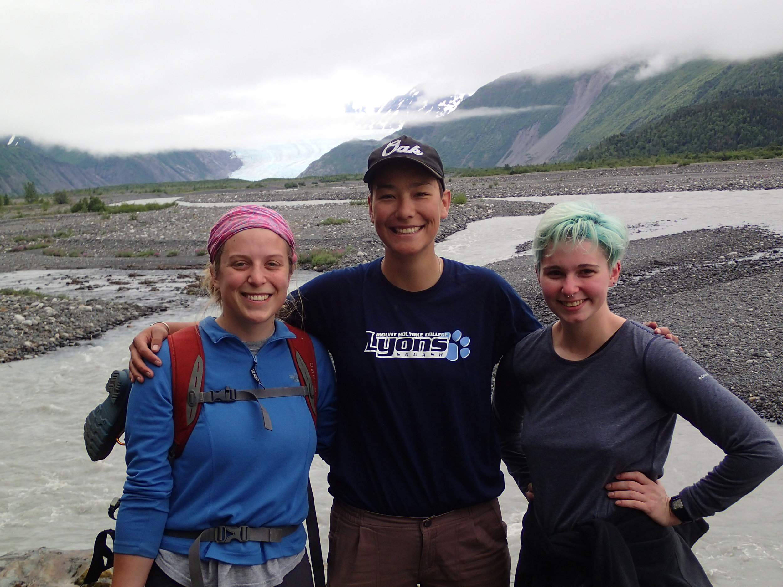 Emmy Wrobleski, Annie Wong, and Abby Boak on a hike along the Skilak River, toward Skilak glacier