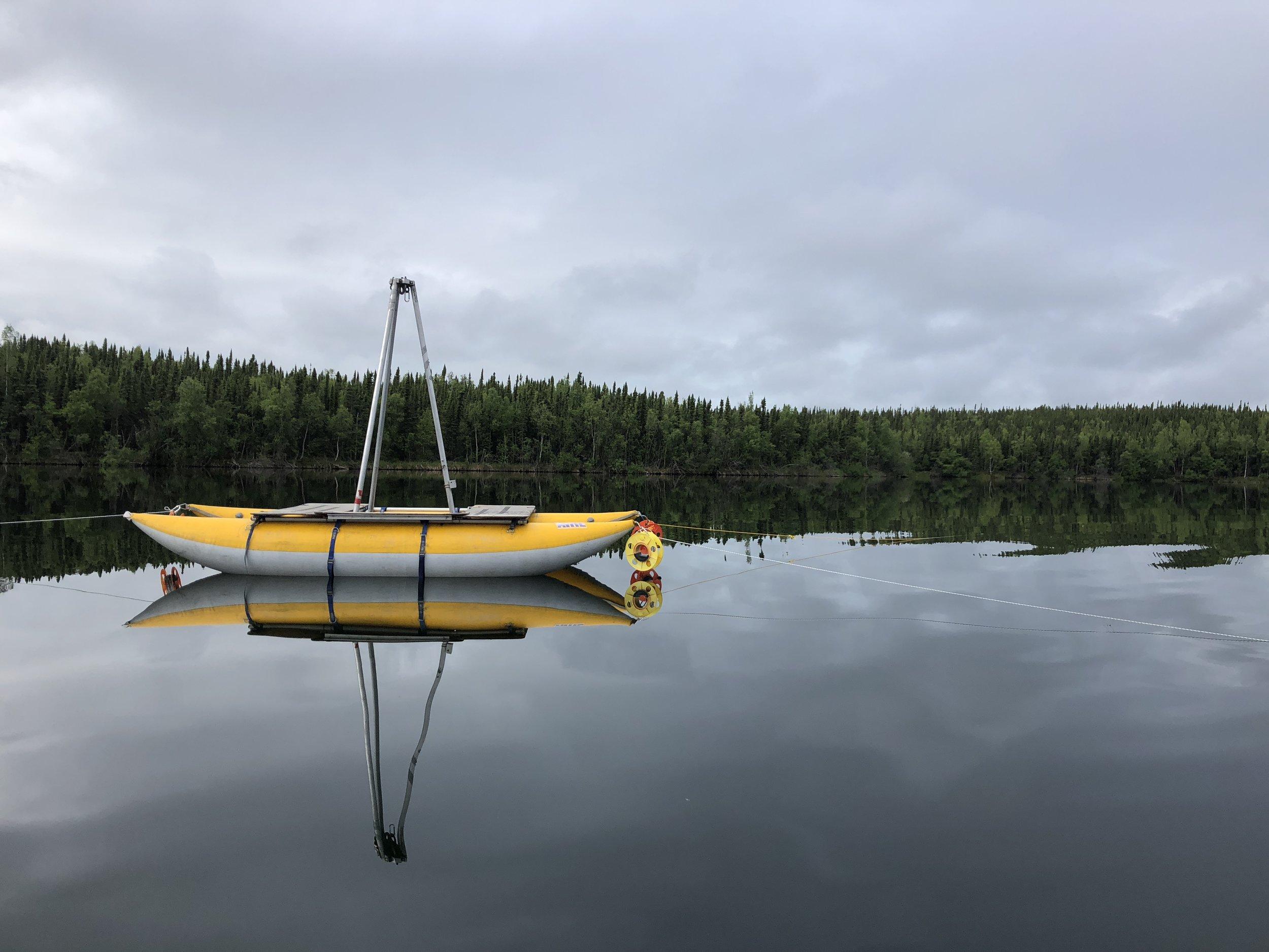 Coring platform on Kelly Lake