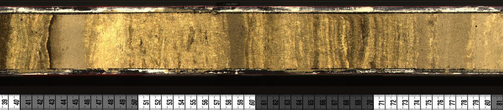 Part of the layered marl deposit in the Kelly Lake sediment core.