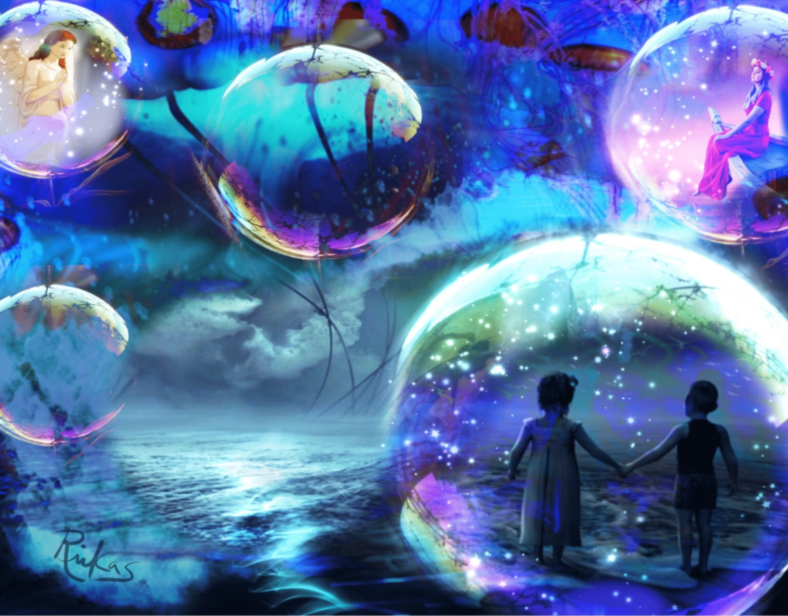 Flying Jellyfish and Magic Orbs by Diana Riukas, iPad digital art.......One of the images submitted to magazine