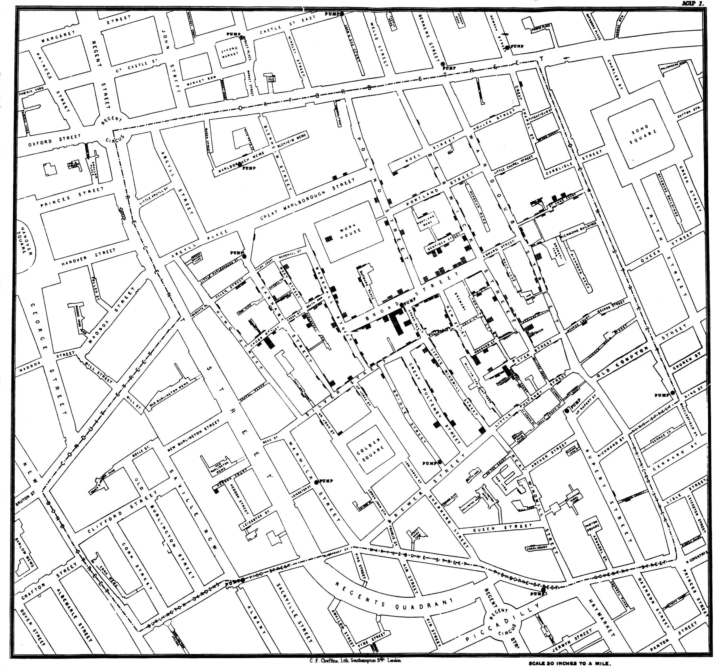 John Snow's Map of the Soho, London, Cholera Outbreak, first presented in December 1854. (click for larger view)