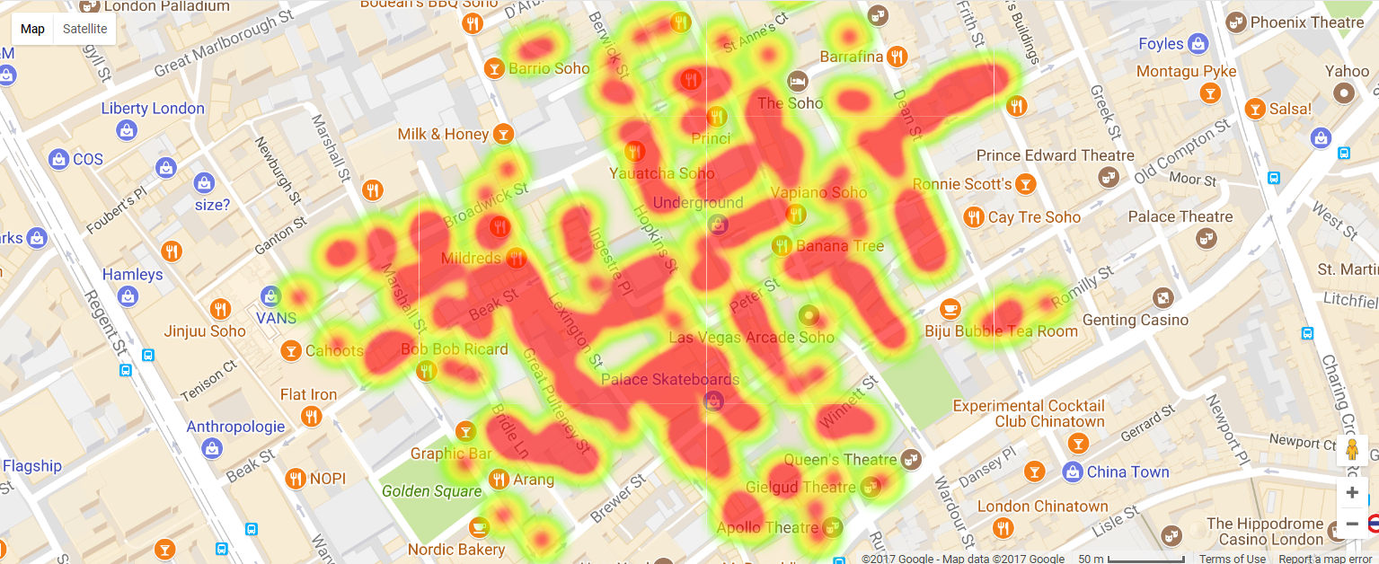 Heat map of the outbreak data