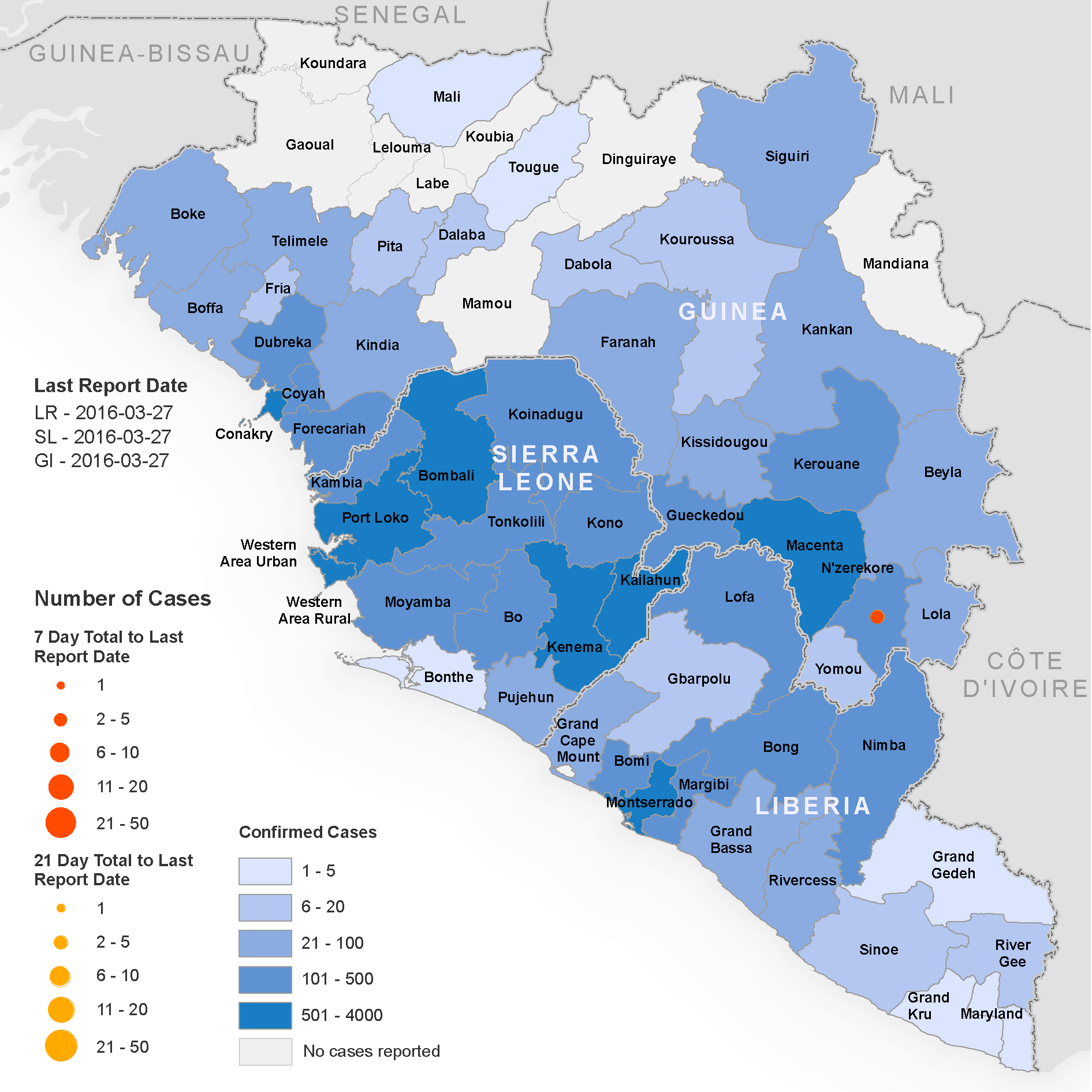Geographical distribution of new and total confirmed cases of Ebola in West Africa, 2016   Source:  World Health Organization (WHO)