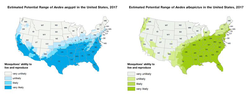 27 JUNE 2018: ESTIMATED POTENTIAL RANGE OF AEDES AEGYPTI AND AEDES ALBOPICTUS IN THE UNITED STATES, 2017*