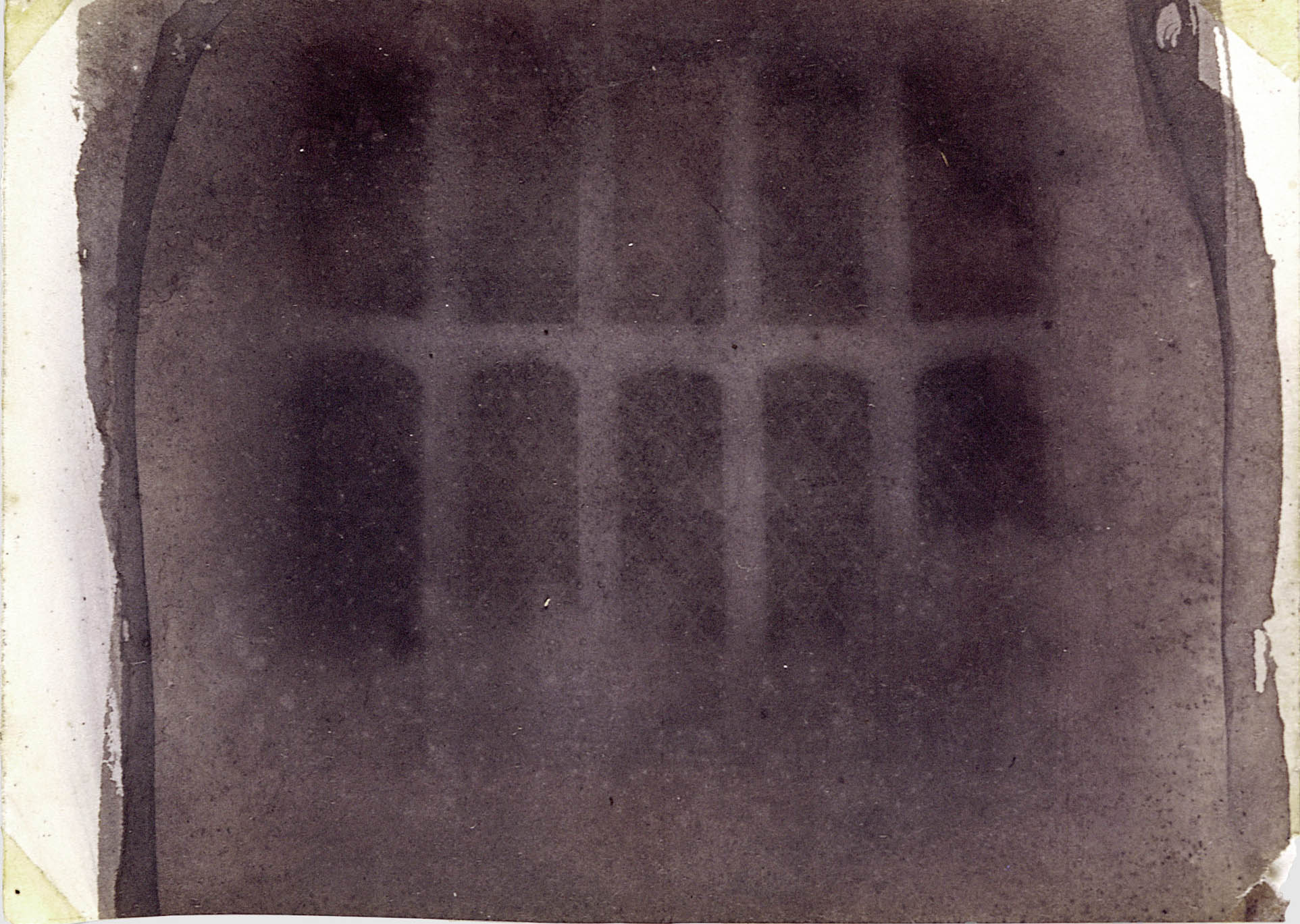William Henry Fox Talbot, Window in the South Gallery of Lacock Abbey made from the oldest photographic negative in existence, 1835. Public Domain.
