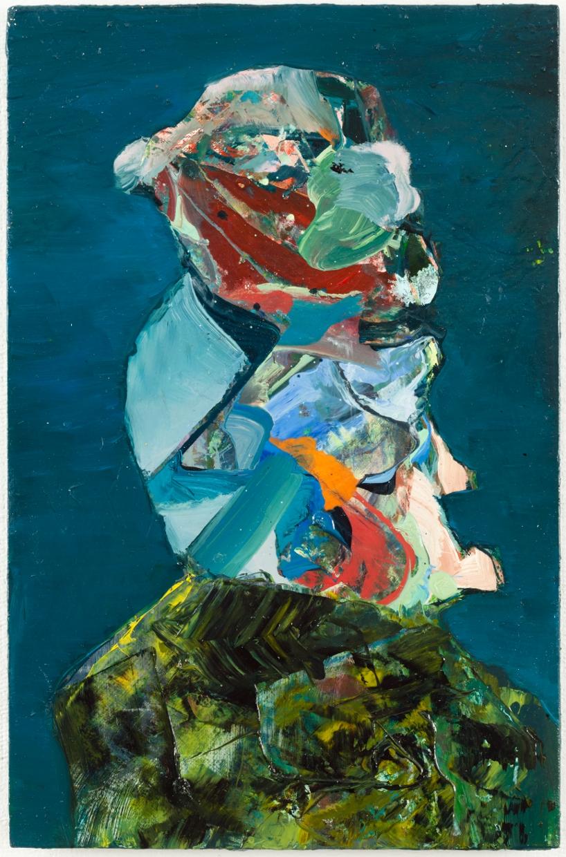 "Pig On Rock (for John Lurie), oil on panel, 11"" x 7-1/8"""