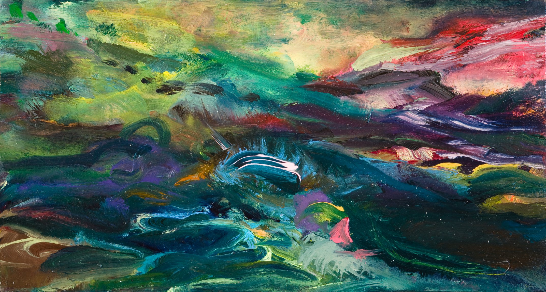 "Simona's View, 2010, oil on panel, 3"" x 5-1/4"""
