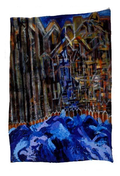 "Cityscape 1, 2003, acrylic on linen, 30-1/2"" x 20-1/2"""