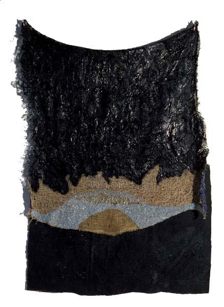 "Nightgown, 2002, tar, acrylic, glass beads and thread on burlap, 58"" x 38"""