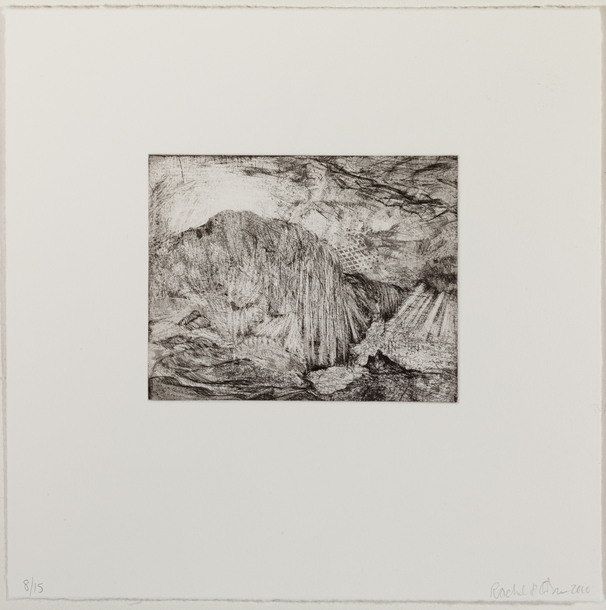 "Lacuna (full page), 2010, etching, edition of 15, 9-1/2"" x 9-1/2"" (paper size)"