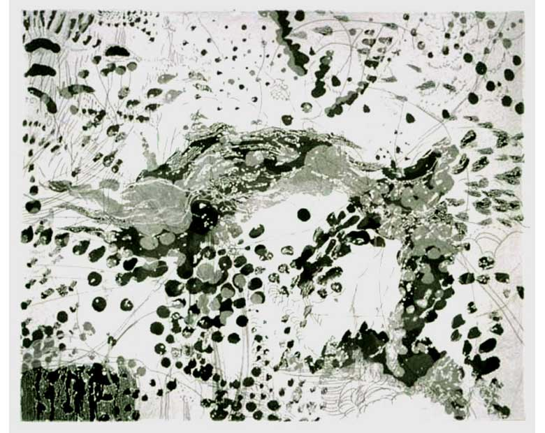 "Knock-out, 2005, etching, edition of 10, 13"" x 14-1/2"" (paper size)"