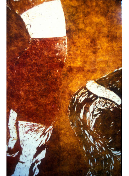 "Quickening, 1999, woodblock monoprint, 72"" x 24"" (detail)"