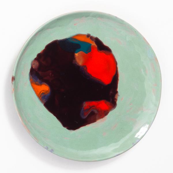"The Mind of the Traveler, 2013, ceramic plate, 9.5"" diameter"