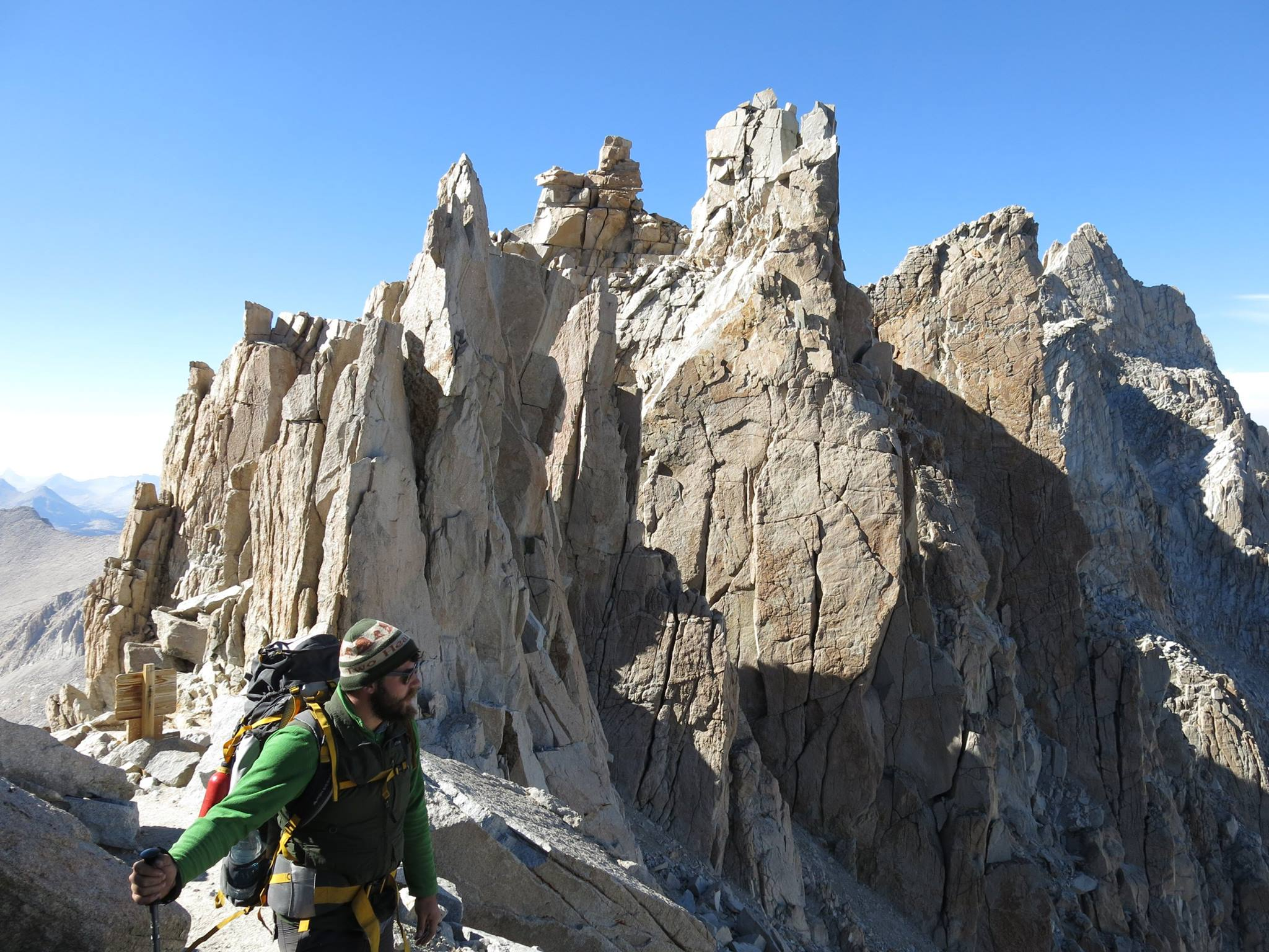 Andrew, wearing his trusty Two Hearted beanie, overlooks a pass high in the Sierra Nevadas.