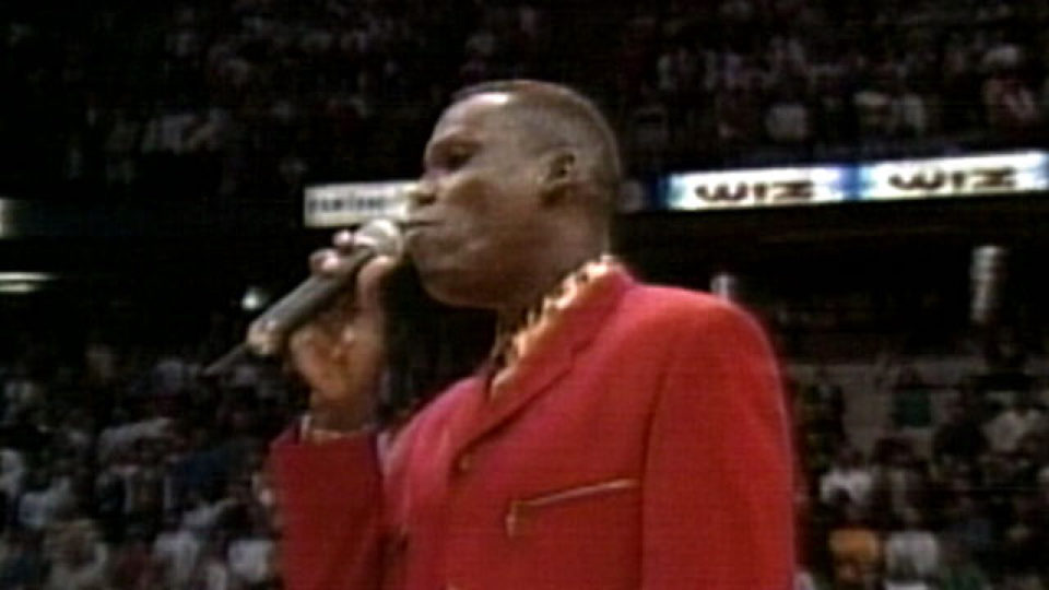 """Carl Lewis """"slaughters"""" the Anthem."""