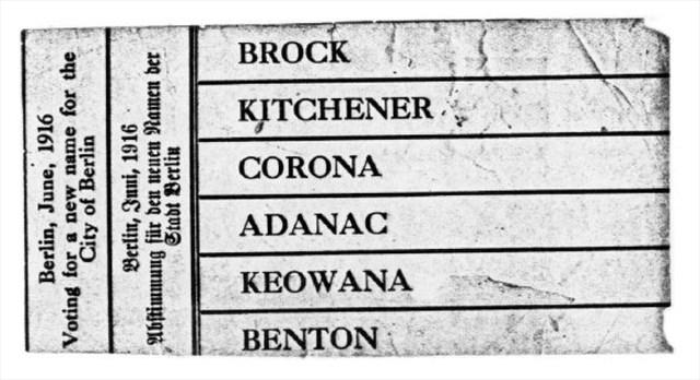 An original voting ballot. Kitchener won.
