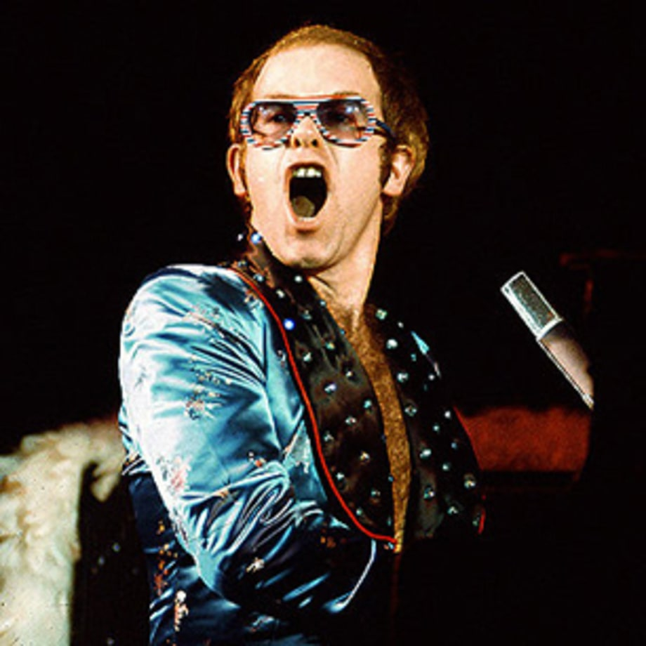 """Elton caught here finishing the word """"off"""" from the sentence, """"FUCK OFF!"""" live from Fuckoffville in nineteen eighty fuckoff six."""