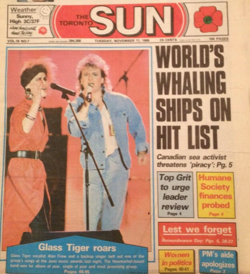 """5) The Toronto Sun, Nov 11th, 1986. We had released our debut album, The Thin Red Line, earlier that year to major accolades. We were then selected to be the opening act for American Supergroup,  Journey.  During the tour we were notified that we had been nominated for three Juno Awards; Best New Group, Album of the Year & Single of the Year. Journey were kind enough to give us a couple of days off to head north and attend and perform on the awards. I think everyone knew that we were a """"shoo-in"""" for Best New Group but for Album and Single of the Year we were up against; Rush, Bryan Adams, Corey Hart and an unbelievably successful album from Platinum Blonde. The """"Tigers Roared"""" that night however, lifting them all. We then headed straight back to America to pick up where we left off with Journey, who were thrilled for us."""