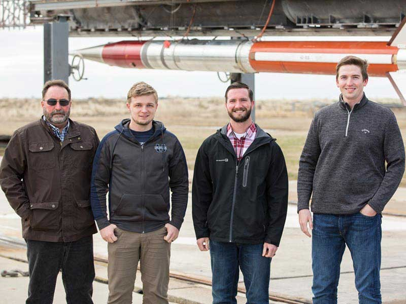 Professor Stephen A. Whitmore and graduate students Zac Lewis, Rob Stoddard and Marc Bulcher designed and built an experiment to test a new type of thruster.