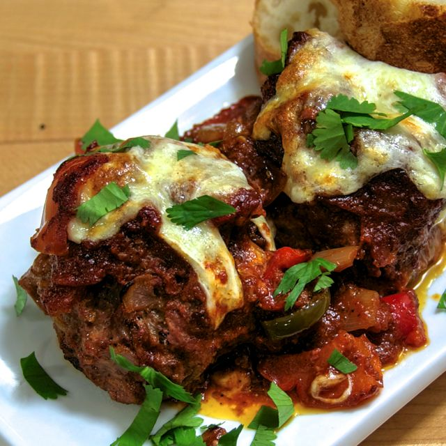 Super Sized Meatballs Stuffed with Cheese