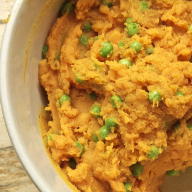 Spiced Mashed Sweet Potato and Peas
