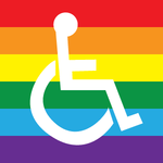 Rainbow Pride FLAG with a  person using a wheelchair.