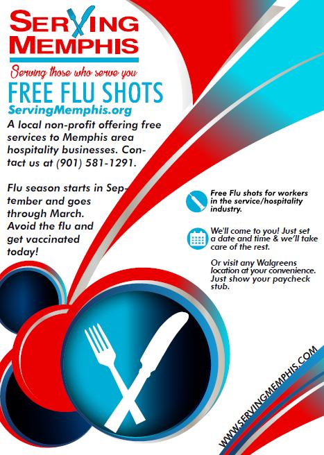 Flyer for Serving Memphis 2017 free flu shot program