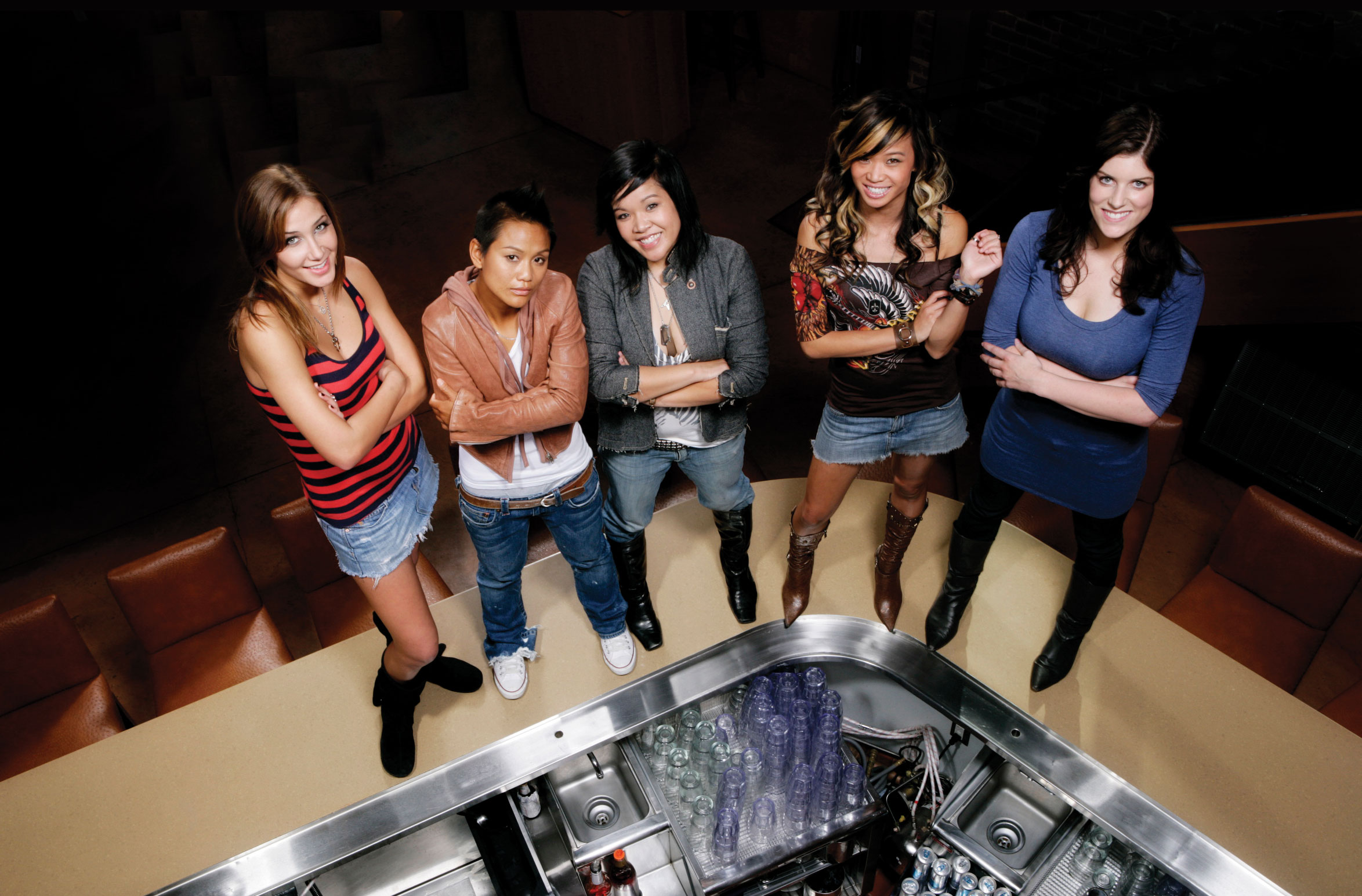 Cast (left to right):Alex Thomopoulos,Davonee Sou,Bathilda Hsu,Robin Koethcke & Charlene Borja