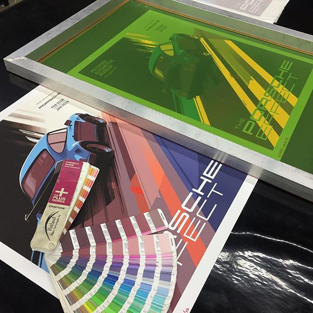 "#FBF Porsche Art Prints... •screen printed •Crane Stationary' - 100% Cotton ""Duplex"" - Fine art paper •weight: 220 lb cover (600 gsm) 'Lettra' cover - Fluorescent White... #getprintd #porsche #printing #screenprinting #downtown #losangeles @petersenmuseum"