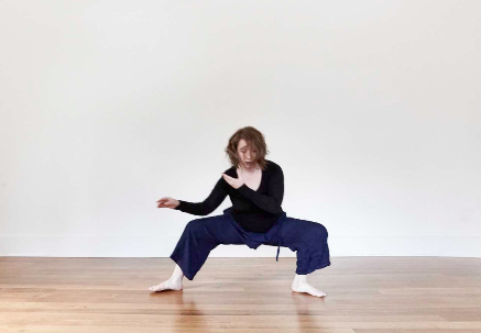 Sandrine teaching a movement-based practice