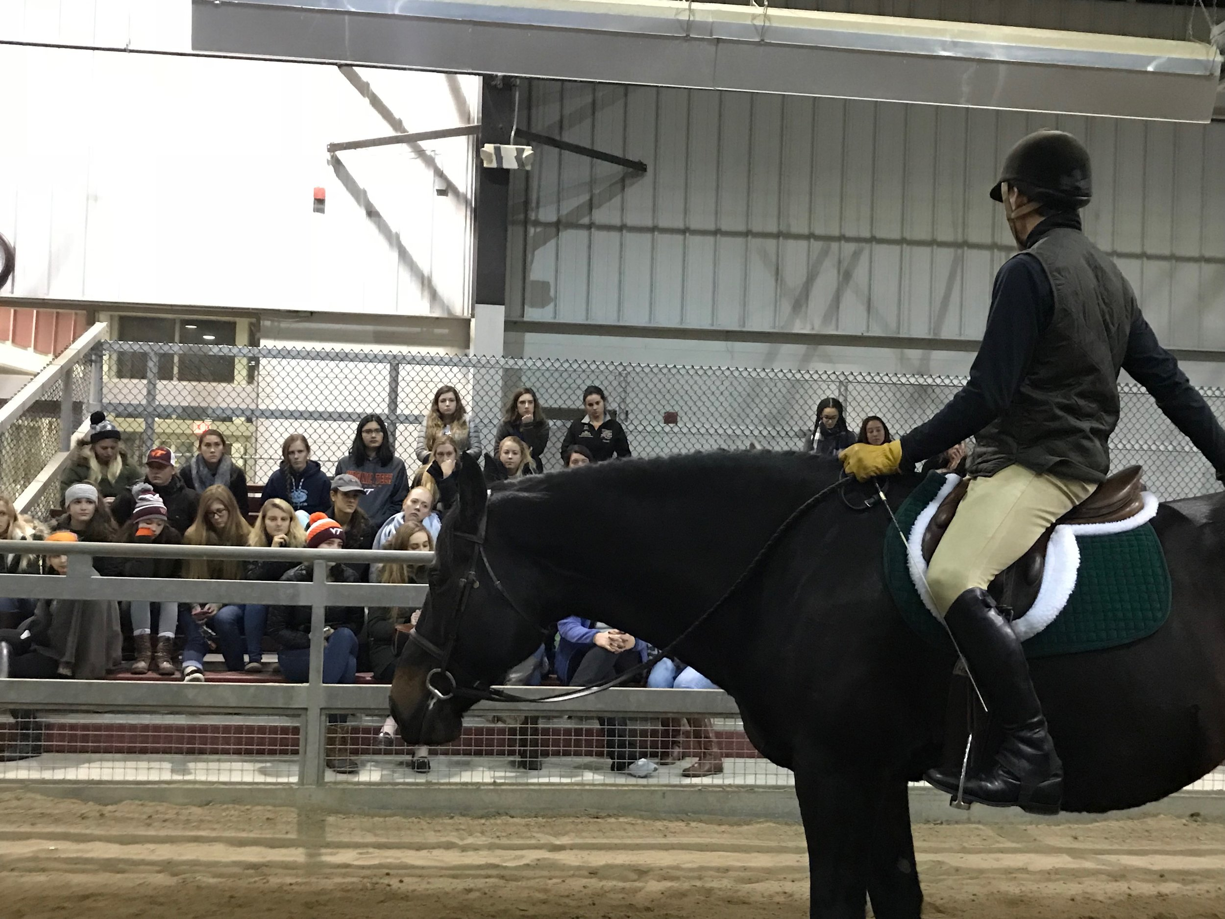 Tad Coffin demonstrating the abilities of SmartRide Rx to the Virginia Tech Equestrian Club