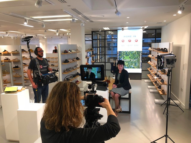 This is our team on set filming a promo video and interview with the CEO of Clarks, Stella Davis