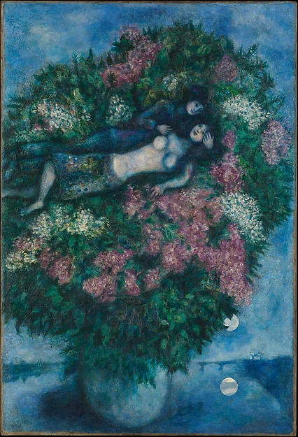 Lovers in the Lilacs by Mark Chagall, 1930.   Metropolitan Museum of Art.