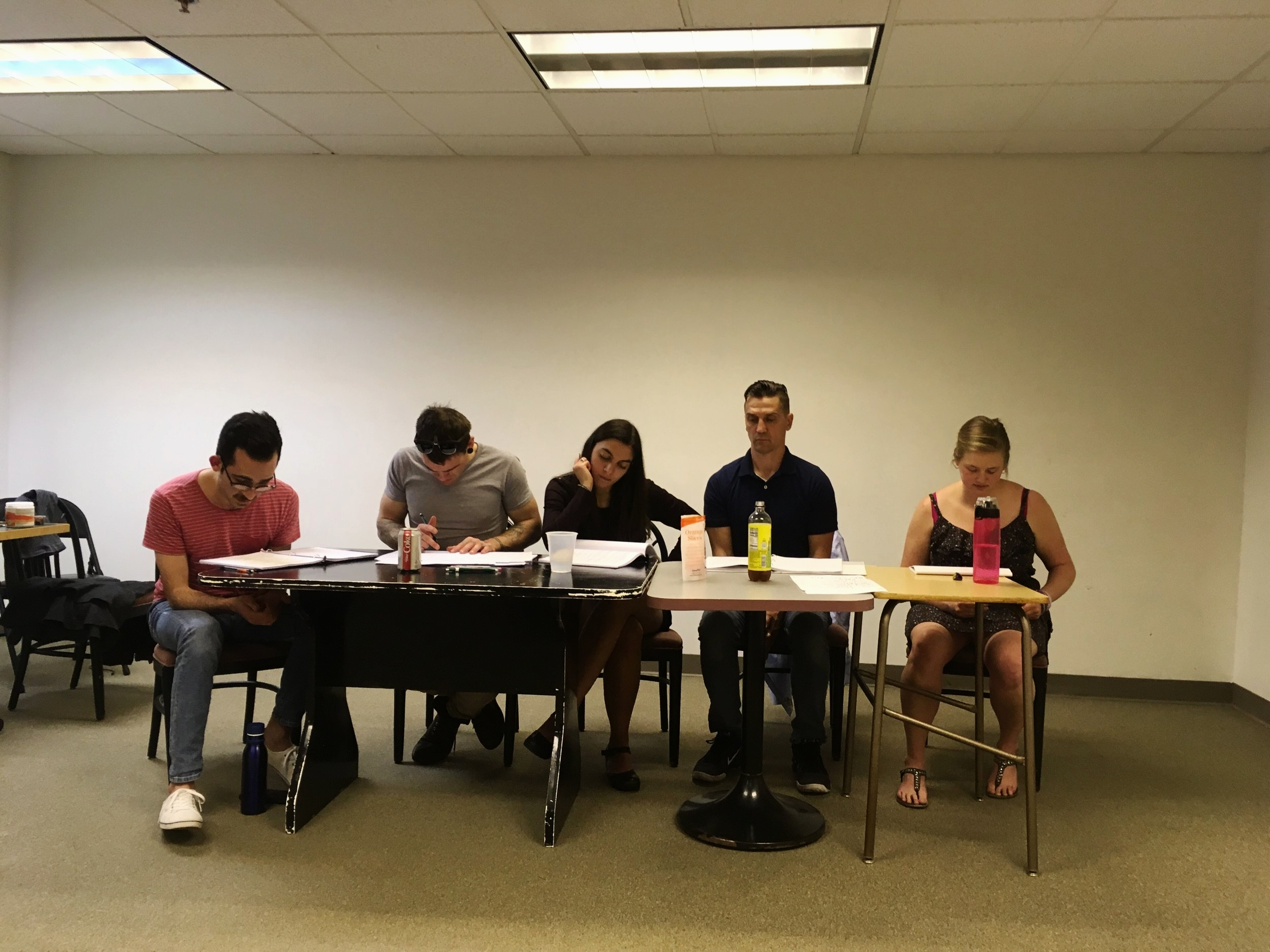 Actors David Eduardo Guzmán Estrada, Rob Schreiner, Solana Ramírez-García, Kirk Thomsen, and Dana Vetter for  Art & Class , by Matthew Ivan Bennett (May 2018)